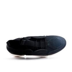 Lace-up black bi-material basket