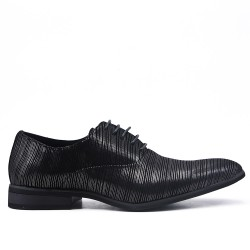 Black faux leather derby with lace