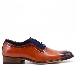Cognac bimaterial derby with lace