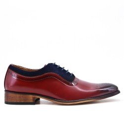Red bimaterial derby with lace