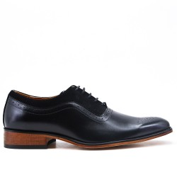 Black bimaterial derby with lace