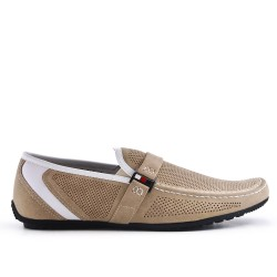 Beige moccasin in perforated faux suede