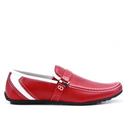 Red moccasin in perforated faux suede