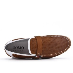 Camel moccasin in perforated faux suede