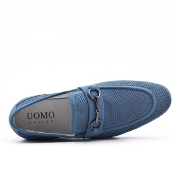Blue imitation leather moccasin