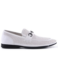 White imitation leather moccasin