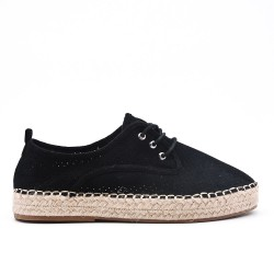Blue espadrille in perforated faux suede
