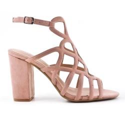 Sandalia rosa en gamuza sintética con tacones altos
