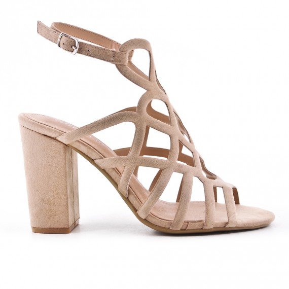 Sandale beige en simili daim à talon haut