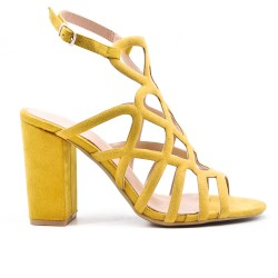 Yellow sandal with heel and zipper