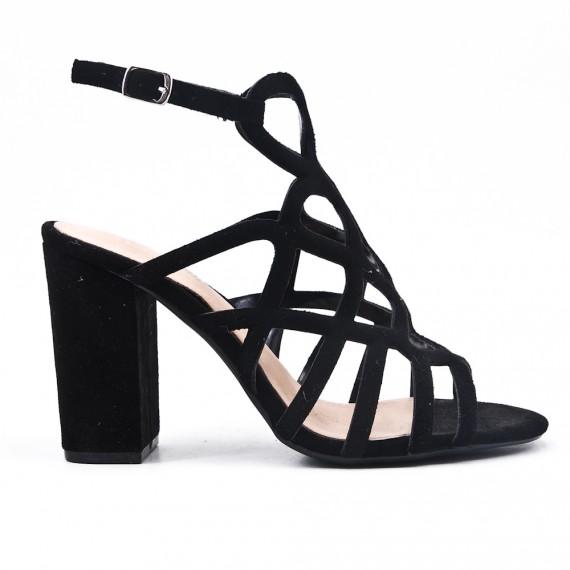 Sandale noire en simili daim à talon haut