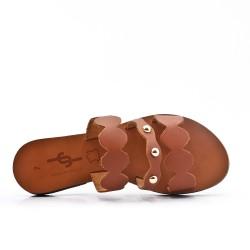 Claquette camel en cuir