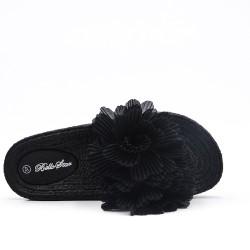 Claquette noire à fleur