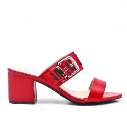 Sandale mule rouge à talon