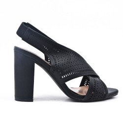 Sandale noire en simili cuir à talon
