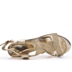 Sandale dorée en simili cuir à talon