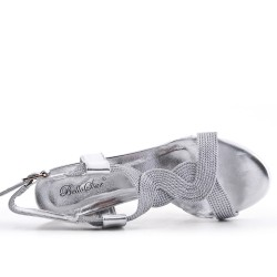 Silver imitation leather sandal with heel