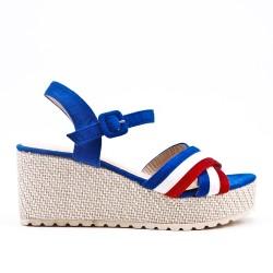Sandale bleu compensée en simili daim