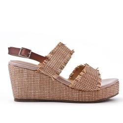 Big Size - Beige Wedge Sandals
