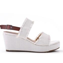 Grande taille - Sandale blanche compensée