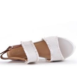 Big Size - White Wedge Sandals