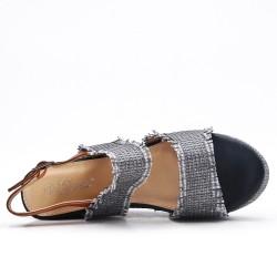 Grande taille - Sandale noire compensée