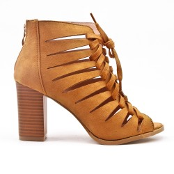 Camel ankle boot with open toe