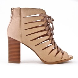 Beige ankle boot with open toe