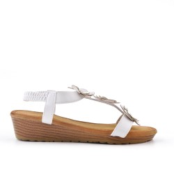 White wedge sandal with flowers