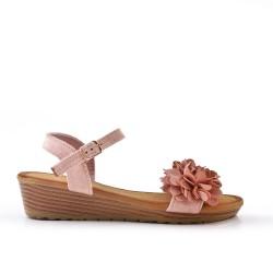 Sandalia cuña rosa con flores