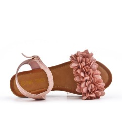 Pink wedge sandal with flowers