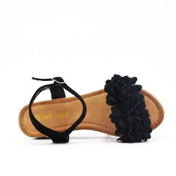 Black wedge sandal with flowers