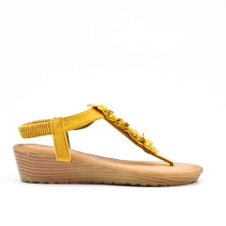 Yellow wedge sandal with flowers