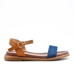 Blue bi-material flat sandal