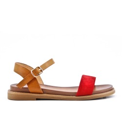 Red bi-material flat sandal