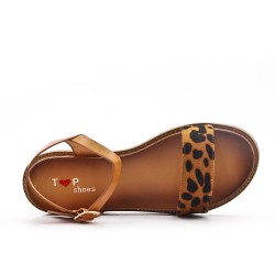 Leopard bi-material flat sandal