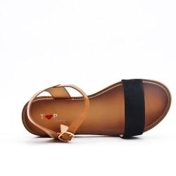 Sandalia plana bimaterial negra