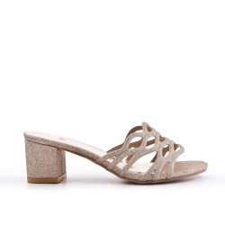 Golden mule sandal with heel