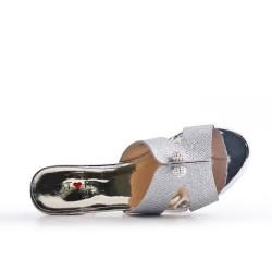 Silver mule sandal with heel