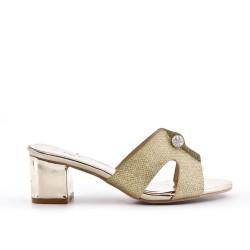 Golden mule sandal with heel
