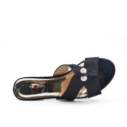 Black mule sandal with heel