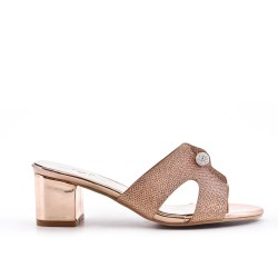 Champagne mule sandal with heel