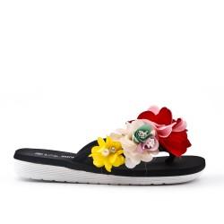 Tanga negra con flor