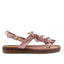 Champagne flat sandal with flowers