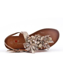 Golden flat sandal with flowers