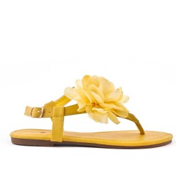 Yellow flat sandal with flowers