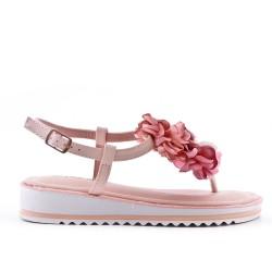 Sandalia plana roso con flores