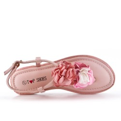 Pink flat sandal with flowers
