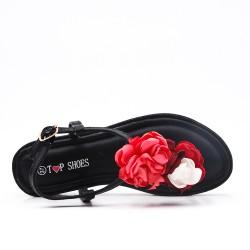 Sandalia plana negra con flores