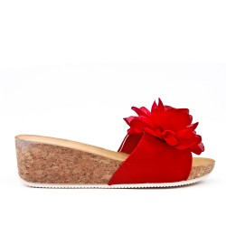 Red mule sandal with wedge heel